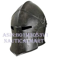 NAUTICALMART Dark Armour Visored Barbuta Helmet