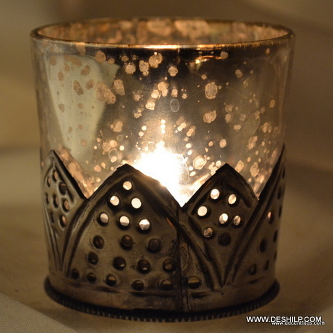 Metal Fit Glass T Light Votive Candle