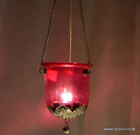 Pink Glass T Light Candle Hanging