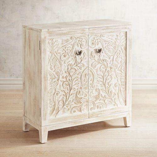 2Door Carved Wood Cabinet