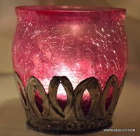 PINK GLASS HOME DECOR METAL FIT CANDLE HOLDER