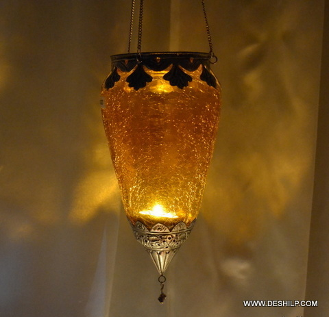 Yellow Creak Glass T Light Candle Hanging