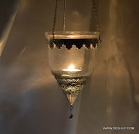 Clear Glass T Light Candle Hanging