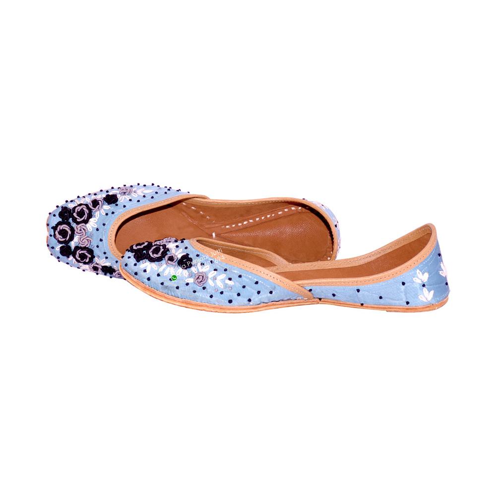 Women Leather Sky Blue Punjabi Jutti With Handwork Heel Size: Flat