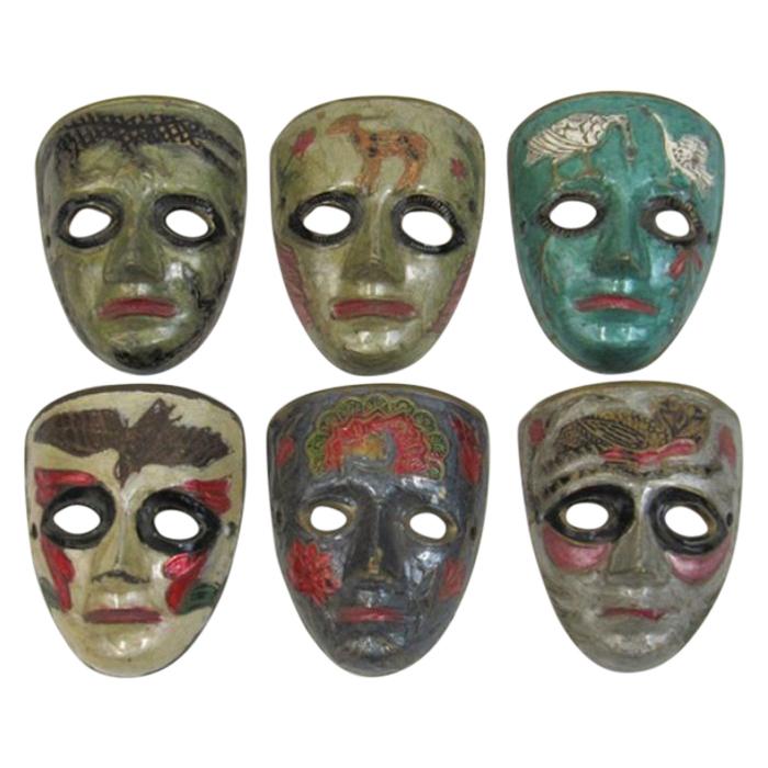 Brass Animal Masks (set of 6)