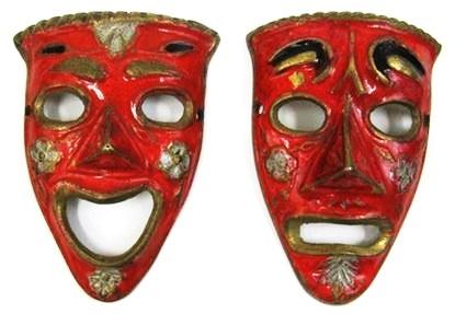 Brass Drama Laughing Masks Red Set Of 2