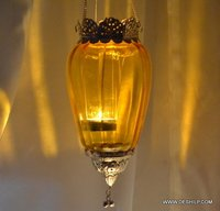 Yellow Glass T Light Hanging Candle Votive