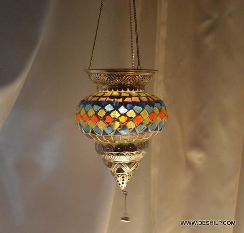 Multi Mosaic Glass T Light Hanging