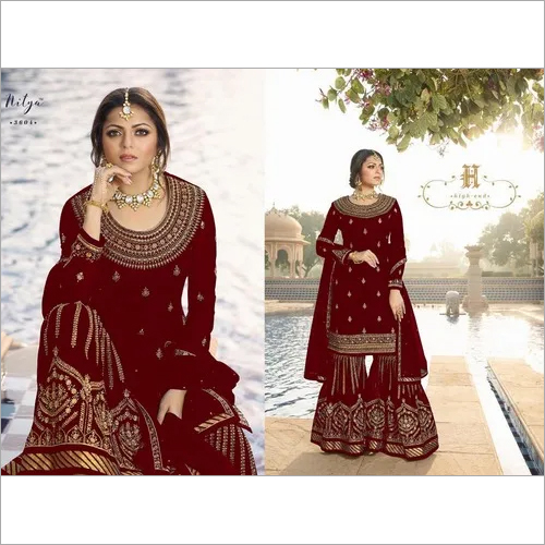 Designer Heavy Embroidered Gharara Suit