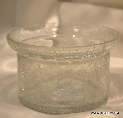 Creack Glass Round Clear Bowl