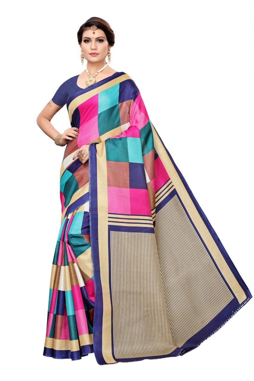 Designer Khadi Silk Saree, Checks Design Saree