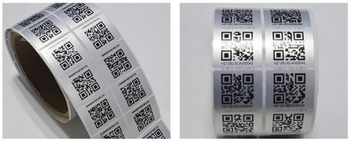 PRINTED BARCODE STICKER SILVER ROLE