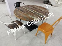 Industrial Dining Set with solid wood top table and Tolix Chair