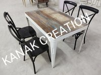 Dining set of four cross back chair with industrial table