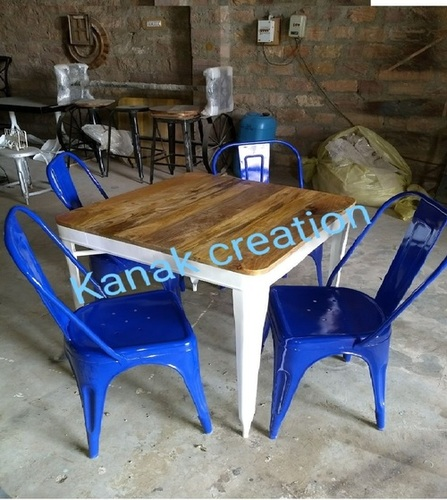 Industrial dining set with four seater