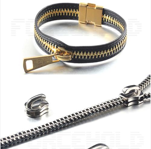 Zipper Chain Pull Clasp Leather oem steel zipper bracelet