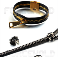 Zipper Chain Pull Clasp Leather oem steel zipper bracelet