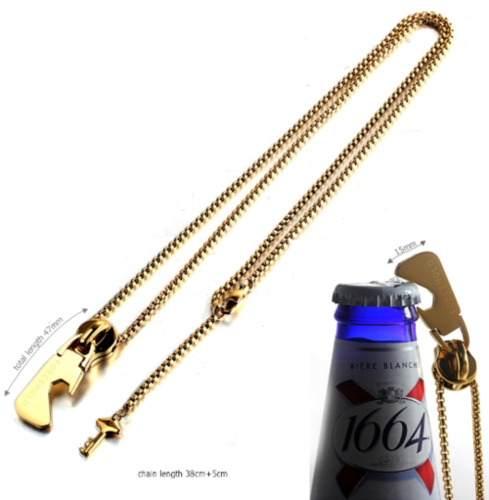 Bottle opener zipper head with key pendant stainless steel man necklace