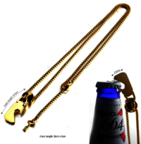 Bottle opener zipper head with key pendant stainless steel man necklace