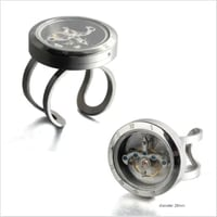 Rotating movement glass cover screw opened Punk size adjustable stainless steel ring