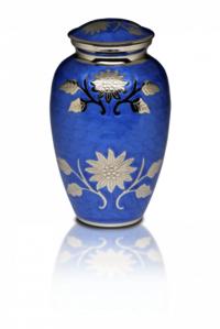 New  Cornflower Blue Brass Cremation Urn with Flowers