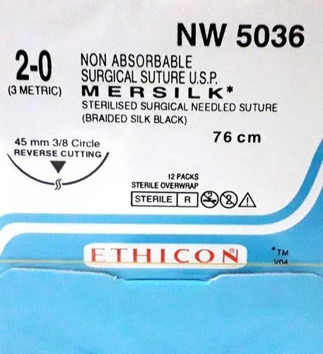 Ethicon - Mersilk ( Black Braided Silk With Needle Suture ) (Nw5036)