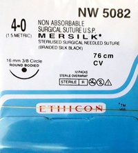 Ethicon - Mersilk ( Black Braided Silk With Needle Suture ) (Nw5082)