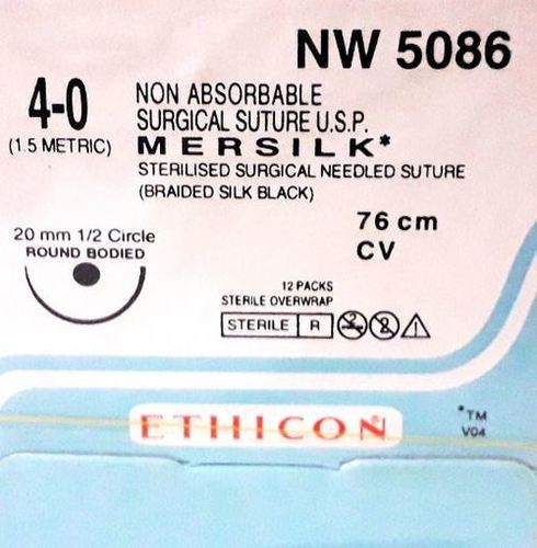 Ethicon - Mersilk ( Black Braided Silk With Needle Suture ) (Nw5086)