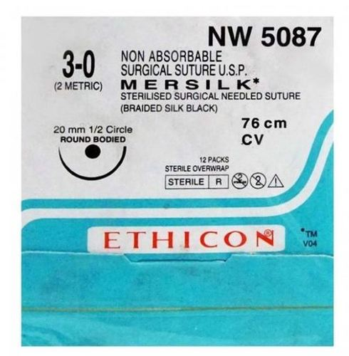Ethicon - Mersilk ( Black Braided Silk With Needle Suture ) (Nw5087)