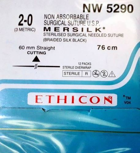 Ethicon - Mersilk ( Black Braided Silk With Needle Suture ) (Nw5290)