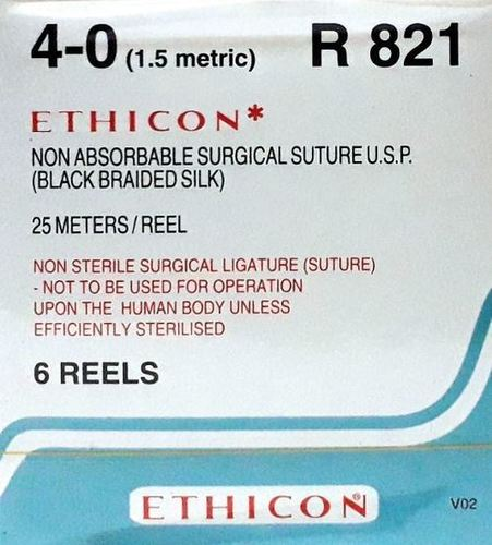 Ethicon Black Braided Silk Reels - Non Sterile (R821)