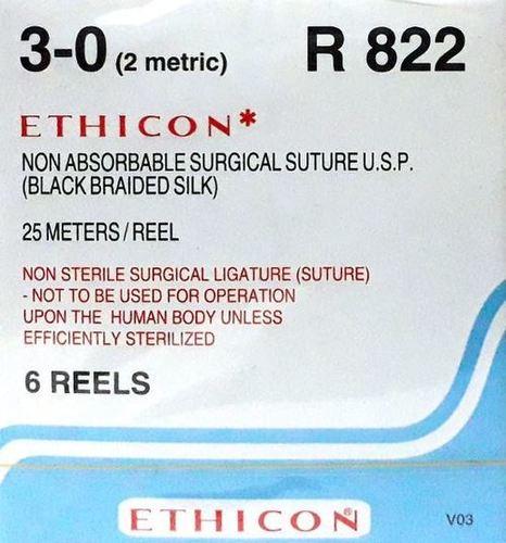 Ethicon Black Braided Silk Reels - Non Sterile (R822)