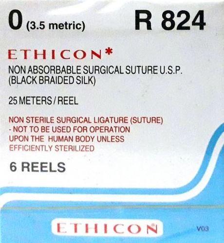 Ethicon Black Braided Silk Reels - Non Sterile (R824)