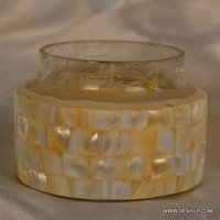 ANTIQUE GLASS SEAP CANDLE HOLDER