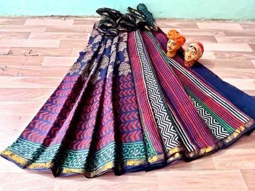 Hand Block Print Cotton Saree with Golden Border