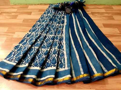 Cotton Block Printed Saree with Golden Border
