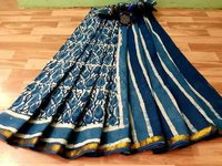 Cotton Block Printed Saree with Golden Border