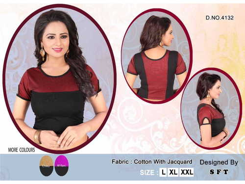 COTTON JACQUARD LYCRA BLOUSE