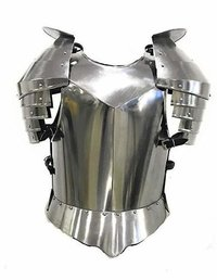B008SGB55M Medieval Times Shoulder Guard Steel Breastplate One Size Fits Most Silver