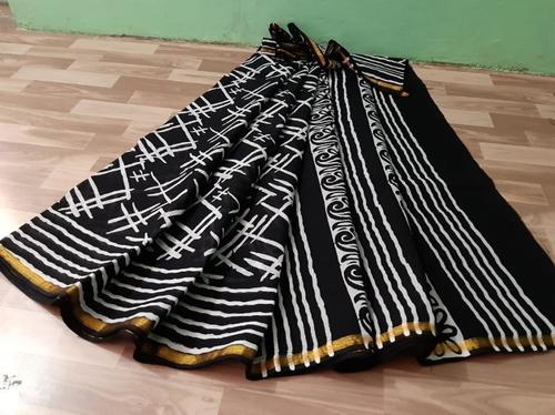 Cotton Malmal Hand Block Printed Saree With Gold Zari Bordar