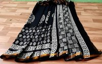 Hand Block Printed Cotton Malmal Saree With Gold Zari Bordar