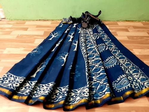 Pure Cotton Malmal Block Printed Saree With Golden Zari Bordar
