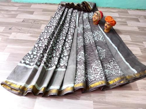 Cotton Malmal Block Print Grey Saree With Gold Zari Bordar