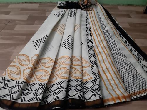 Offwhite Hand Block Print Cotton Malmal Saree