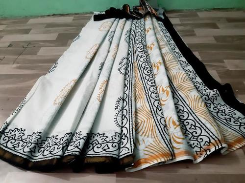 Black and White Hand Block Print Cotton Malmal Saree