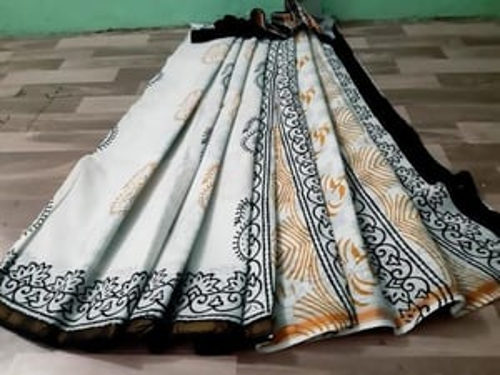 Black and White Hand Block Print Cotton Malmal Saree