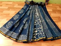 Blue Indigo Hand Block Print Cotton Malmal Saree