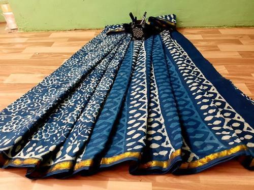 Indigo Print Hand Block Print Cotton Malmal Saree