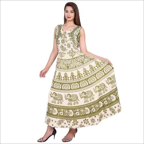 Sleeveless Jaipuri Maxi Dress