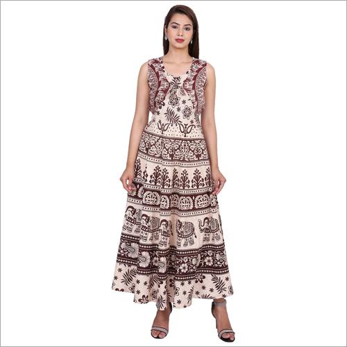Brown Jaipuri Printed Maxi Dress